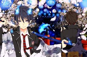 Rating: Safe Score: 68 Tags: ao_no_exorcist blue_eyes flowers gun japanese_clothes katana okumura_rin okumura_yukio pointed_ears sword tie utaoka_(23com) weapon User: opai