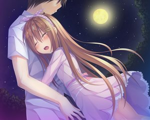 Rating: Safe Score: 36 Tags: brown_hair crying hug long_hair male moon night original short_hair tagme_(artist) tears User: luckyluna