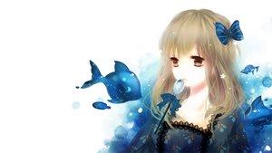 Rating: Safe Score: 93 Tags: animal blonde_hair brown_eyes fish original polychromatic ribbons third-party_edit waifu2x yuukichi User: Dummy