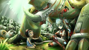 Rating: Safe Score: 47 Tags: 2girls black_hair blue_eyes flowers grass original puretails robot User: SonicBlue
