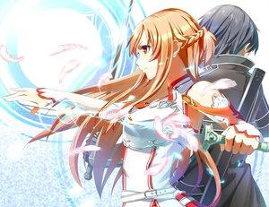 Rating: Safe Score: 238 Tags: in_miso kirigaya_kazuto sword sword_art_online weapon yuuki_asuna User: C4R10Z123GT