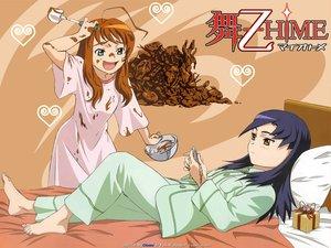 Rating: Safe Score: 8 Tags: 2girls bed mai-otome nina_wang pajamas yumemiya_arika User: Oyashiro-sama