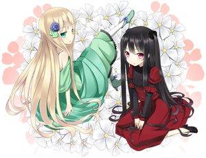 Rating: Safe Score: 76 Tags: 2girls black_hair blonde_hair dress flowers green_eyes original pink_eyes User: Maboroshi