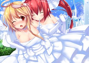 Rating: Safe Score: 133 Tags: 2girls aixioo anthropomorphism blonde_hair breasts cleavage elbow_gloves gloves i-168_(kancolle) i-58_(kancolle) kantai_collection long_hair red_eyes red_hair wedding wedding_attire wink User: Flandre93