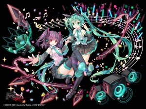 Rating: Safe Score: 31 Tags: 2girls animal_ears black green_eyes green_hair hatsune_miku headphones kaku-san-sei_million_arthur logo long_hair mintchoco music purple_hair red_eyes skirt square_enix thighhighs tie twintails vocaloid watermark User: BattlequeenYume