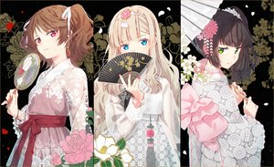 Rating: Safe Score: 107 Tags: aqua_eyes blonde_hair bow brown_hair chinese_clothes choker fan flowers green_eyes hakusai headdress japanese_clothes kimono long_hair original pink_eyes ponytail ribbons twintails umbrella User: otaku_emmy
