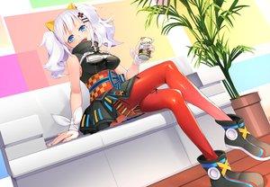 Rating: Safe Score: 58 Tags: aqua_eyes bandage blush breasts cleavage couch dress drink japanese_clothes kaguya_luna kaguya_luna_(character) long_hair pantyhose ribbons shiro_ami twintails white_hair wristwear User: BattlequeenYume