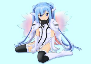 Rating: Safe Score: 30 Tags: 000078 blue_eyes blue_hair boots collar elbow_gloves gloves long_hair nymph sora_no_otoshimono thighhighs twintails wings User: Kumacuda