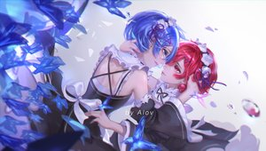 Rating: Safe Score: 18 Tags: 2girls animal blue_eyes blue_hair bow butterfly dress flowers maid ram_(re:zero) red_eyes red_hair rem_(re:zero) re:zero_kara_hajimeru_isekai_seikatsu ribbons short_hair shoujo_ai tagme_(artist) twins watermark User: BattlequeenYume