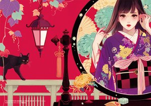 Rating: Safe Score: 28 Tags: animal cat japanese_clothes kimono long_hair matsuo_hiromi original User: FormX