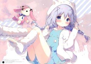 Rating: Safe Score: 75 Tags: blush braids bunny gochuumon_wa_usagi_desu_ka? hat hoodie kafuu_chino loli long_hair purple_hair scan shiratama shorts twintails User: BattlequeenYume