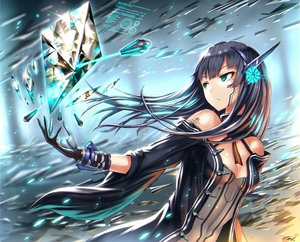 Rating: Safe Score: 131 Tags: aqua_eyes black_hair breasts cleavage cropped gia gloves long_hair original tattoo User: SciFi