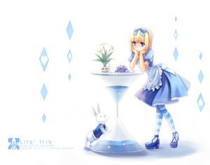 Rating: Safe Score: 54 Tags: alice_(wonderland) alice_in_wonderland blonde_hair blue_eyes bunny dress flowers li_(liras) original ribbons short_hair signed thighhighs watermark User: Maho