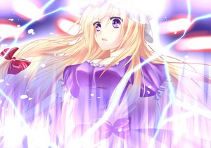 Rating: Safe Score: 34 Tags: blonde_hair dress hat long_hair magic purple_eyes ribbons touhou yakumo_yukari User: Tensa