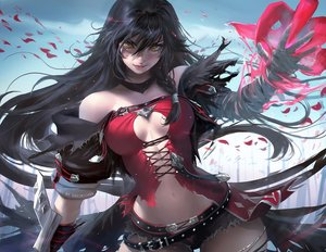 Rating: Safe Score: 441 Tags: bandage black_hair breasts cleavage long_hair sakimichan tales_of_berseria velvet_crowe watermark yellow_eyes User: Jahta
