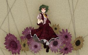 Rating: Safe Score: 8 Tags: dress flowers green_hair katayama_kei kazami_yuuka red_eyes short_hair socks sunflower touhou User: 秀悟