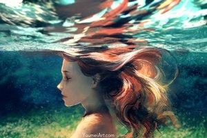 Rating: Safe Score: 102 Tags: close long_hair original red_hair topless underwater water watermark wenqing_yan_(yuumei_art) User: otaku_emmy