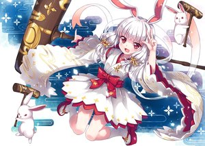 Rating: Safe Score: 78 Tags: animal animal_ears bunny_ears bunnygirl cat_smile gray_hair japanese_clothes noah_fantasy north_abyssor rabbit red_eyes socks tagme_(character) User: gnarf1975