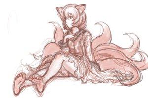 Rating: Safe Score: 52 Tags: animal_ears barefoot foxgirl kuro_suto_sukii short_hair sketch tail touhou yakumo_ran User: PAIIS