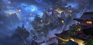 Rating: Safe Score: 146 Tags: building clouds ling_xiang night original scenic signed tree User: mattiasc02