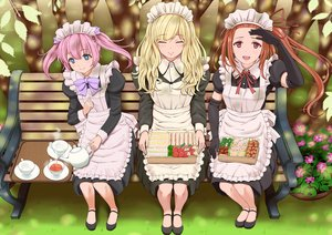 Rating: Safe Score: 62 Tags: aqua_eyes blonde_hair bow brown_hair drink elbow_gloves food headdress long_hair maid original pink_hair ponytail red_eyes ribbons tree twintails tyawan User: birdy73