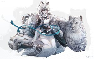 Rating: Safe Score: 36 Tags: animal animal_ears arknights bell blue_eyes boots braids cape catgirl dress gray_hair headdress long_hair necklace pramanix_(arknights) ribbons signed snow_is tail watermark User: BattlequeenYume