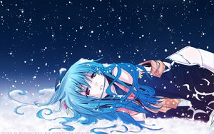 Rating: Safe Score: 63 Tags: blue_hair chinese_clothes chinese_dress dress eretto hat hinanawi_tenshi long_hair night red_eyes snow thighhighs touhou User: 秀悟