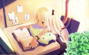 Rating: Safe Score: 61 Tags: blonde_hair book harada_takehito long_hair sakura_neko User: 秀悟
