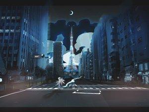Rating: Safe Score: 73 Tags: ao_(aohari) brown_hair building city mecha moon night original robot scenic stars wings User: SonicBlue