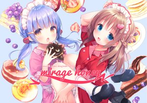Rating: Safe Score: 56 Tags: 2girls apron aqua_eyes blue_hair braids brown_hair cake chocolate food fruit headdress kneehighs loli long_hair maid original piyodera_mucha socks strawberry twintails waifu2x waitress yellow_eyes User: otaku_emmy