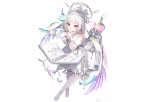 Rating: Safe Score: 70 Tags: aliasing book bow brown_eyes dress elbow_gloves feathers gloves hat original pantyhose ryota_(ry_o_ta) short_hair signed white_hair wings User: otaku_emmy