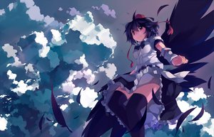 Rating: Safe Score: 124 Tags: clouds feathers nodata shameimaru_aya sky thighhighs touhou wings User: opai