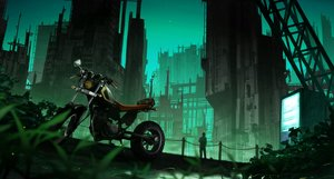 Rating: Safe Score: 47 Tags: building city gensuke green motorcycle original scenic User: FormX