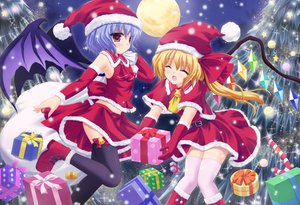 Rating: Safe Score: 75 Tags: 2girls blonde_hair blue_hair candy christmas flandre_scarlet food gloves hat moon red_eyes remilia_scarlet santa_costume santa_hat shimotsuki_keisuke sky snow thighhighs touhou tree vampire wings User: opai