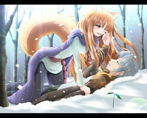 Rating: Safe Score: 68 Tags: animal_ears brown_hair craft_lawrence fang forest gray_hair horo kazuna long_hair red_eyes snow spice_and_wolf tail tree wolfgirl User: SciFi
