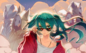 Rating: Safe Score: 52 Tags: close green_eyes green_hair hatsune_miku hoodie horns kkmi long_hair mask signed suna_no_wakusei_(vocaloid) sunglasses twintails vocaloid User: FormX