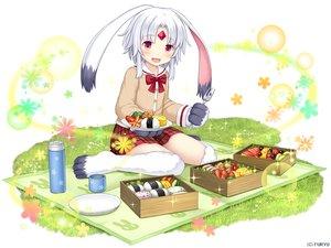 Rating: Safe Score: 25 Tags: animal_ears blush bow bunny_ears bunnygirl food grass monmusu_harem namaru_(summer_dandy) red_eyes rurie_(monmusu_harem) school_uniform short_hair skirt white_hair User: otaku_emmy