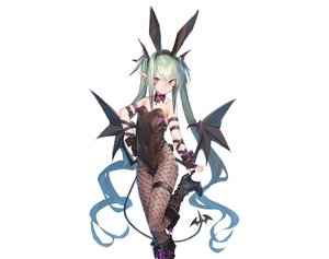 Rating: Safe Score: 92 Tags: animal_ears bunny_ears demon dio_uryyy gloves green_hair headband long_hair original pointed_ears purple_eyes sketch succubus tail third-party_edit twintails white wings User: BattlequeenYume
