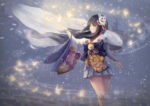 Rating: Safe Score: 104 Tags: animal aqua_eyes bell bird black_hair japanese_clothes long_hair mask onmyouji petals resau yuki_onna User: RyuZU