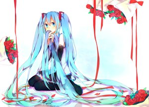 Rating: Safe Score: 89 Tags: blue_eyes blue_hair flowers hatsune_miku long_hair ni_you petals ribbons vocaloid User: FormX