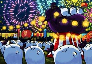 Rating: Safe Score: 11 Tags: animal cat_smile fan festival fireworks food gray_(artist) group night original User: otaku_emmy