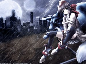 Rating: Safe Score: 38 Tags: animal boots brown_hair building city hat long_hair moon night original rain thighhighs water watermark weapon User: Oyashiro-sama
