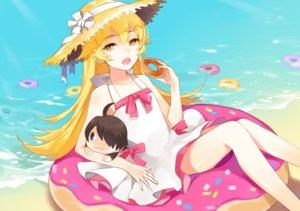 Rating: Safe Score: 84 Tags: apring araragi_koyomi beach blonde_hair bow cat_smile doll dress food hat long_hair monogatari_(series) nisemonogatari oshino_shinobu water yellow_eyes User: reyaes