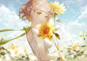 Rating: Safe Score: 113 Tags: blonde_hair breasts clouds flowers gomzi original ribbons short_hair sky sunflower yellow_eyes User: otaku_emmy