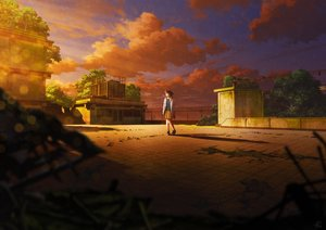 Rating: Safe Score: 35 Tags: brown_hair clouds mocha_(cotton) original rooftop ruins scenic short_hair signed skirt sky sunset tree User: FormX