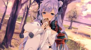 Rating: Safe Score: 69 Tags: anthropomorphism azur_lane blush bow clouds dress hms_unicorn_(azur_lane) long_hair purple_eyes purple_hair scarf sky tetsujin_momoko tree valentine water User: BattlequeenYume