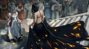 Rating: Safe Score: 160 Tags: black_hair dress ghostblade gray_hair jpeg_artifacts long_hair princess_aeolian princess_yan stairs watermark wlop User: RyuZU