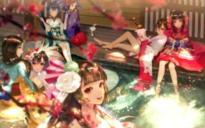 Rating: Safe Score: 55 Tags: animal_ears aqua_eyes barefoot black_hair brown_hair ebisu_(onmyouji) flowers food group hana_(asml30) hotarugusa_(onmyouji) itsumade_(onmyouji) kochou_no_sei_(onmyouji) long_hair mask momo_no_sei_(onmyouji) onmyouji petals ponytail red_eyes sakura_no_sei_(onmyouji) shouzu_(onmyouji) tagme_(character) water User: RyuZU