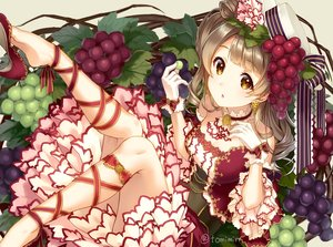 Rating: Safe Score: 55 Tags: bow brown_eyes brown_hair choker dress food fruit gloves hat long_hair love_live!_school_idol_project minami_kotori ribbons signed tomiwo User: RyuZU
