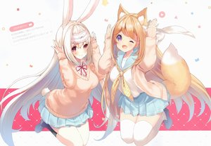 Rating: Safe Score: 138 Tags: 2girls amamiya_mei animal_ears blonde_hair blush bunny_ears bunnygirl cynthia_riddle foxgirl long_hair original p19 purple_eyes red_eyes scan school_uniform skirt tail thighhighs white_hair wink User: BattlequeenYume
